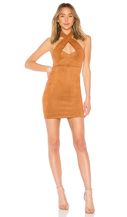 by the way. Melanie Cross Front Halter Dress in Cognac
