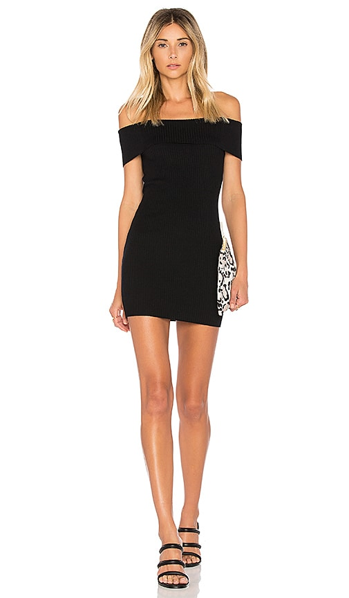 by the way. Tara Off Shoulder Knit Mini Dress in Black