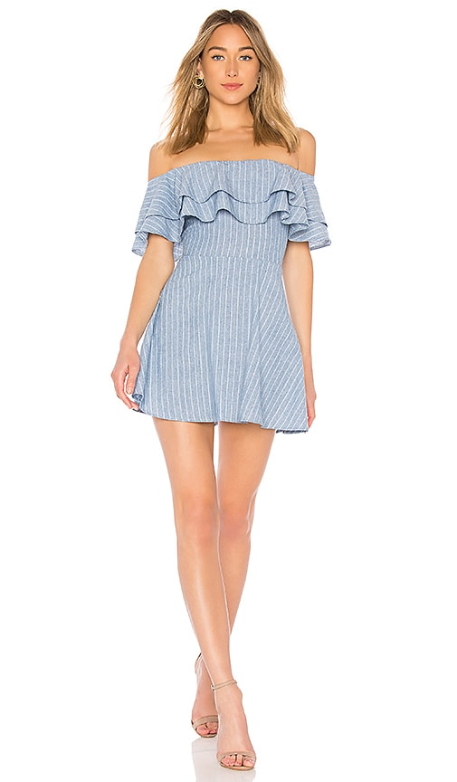 by the way. Briget Ruffle Dress in Blue