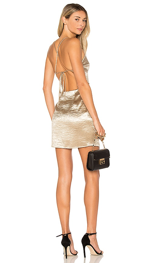by the way. Astrid Cross Back Mini Dress in Metallic Gold