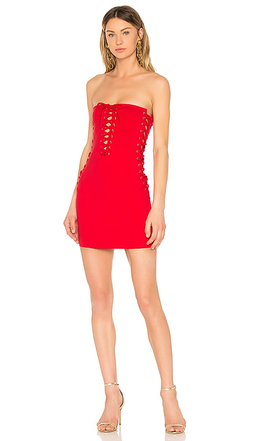 by the way. Chanel Lace Up Tube Dress in Red