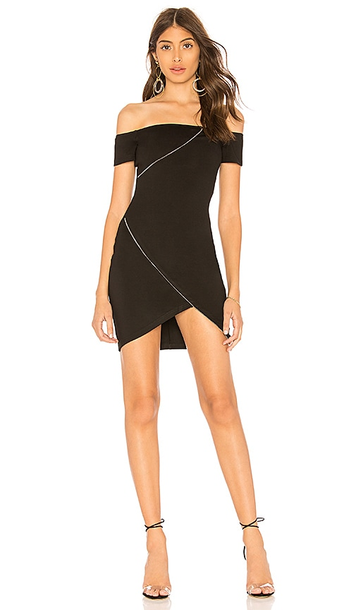 by the way. Denise Off Shoulder Zipper Dress in Black