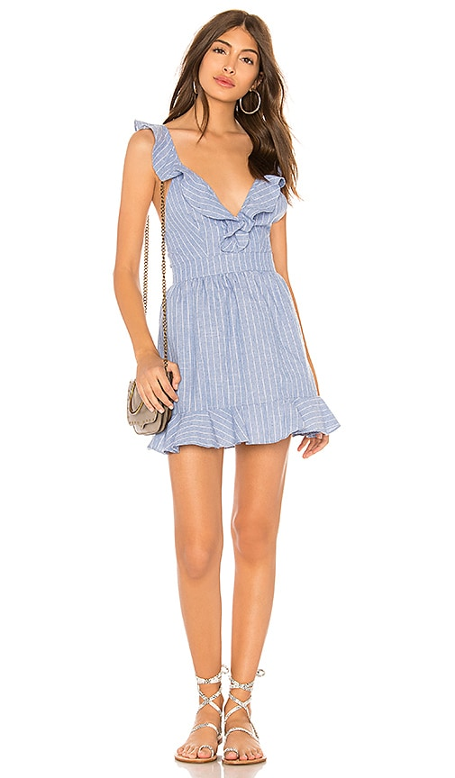 by the way. Livia Striped Ruffle Dress in Blue