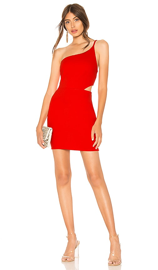 by the way. Rina Asymmetrical Mini Dress in Red