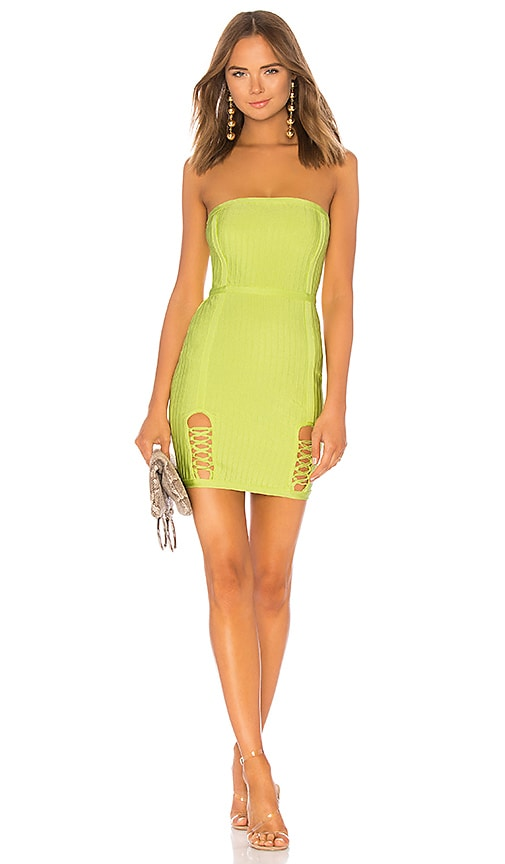 by the way. Cassidy Lace Up Slit Bandage Dress in Yellow