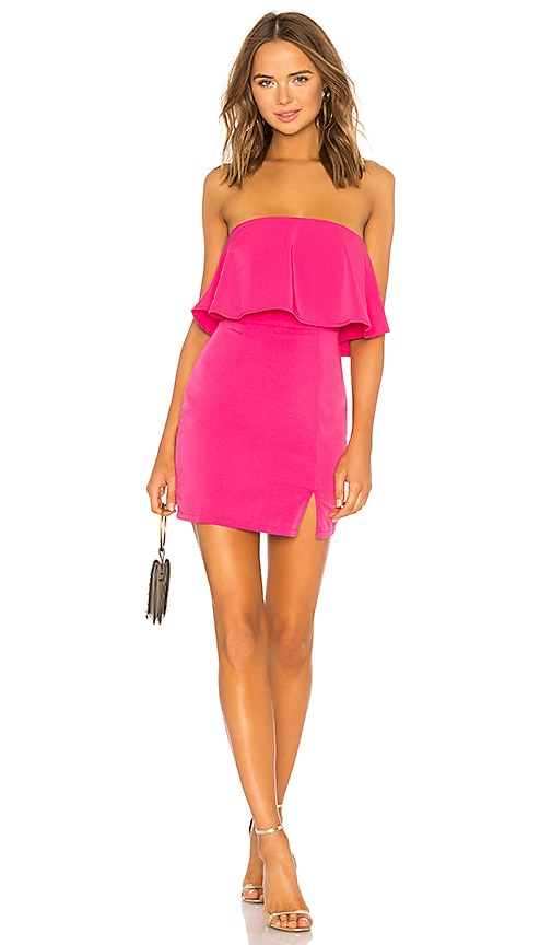 29f381532a superdown Catalina Ruffle Tube Mini Dress in Hot Pink