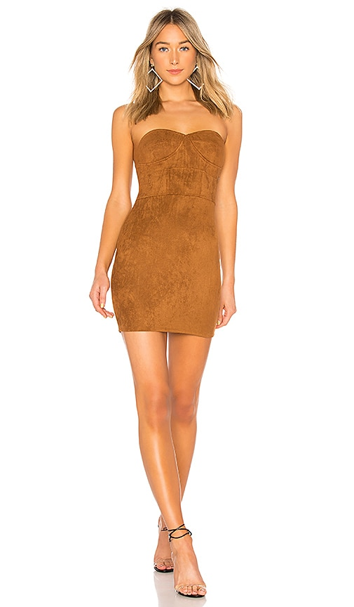 Carla Faux Suede Strapless Dress
