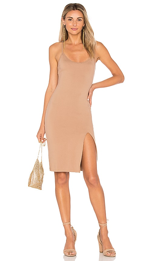 by the way. Sina Bodycon Midi Dress in Tan