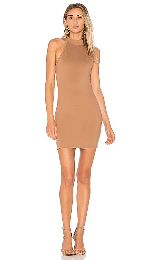 by the way. Gracia Halter Bodycon Dress in Tan
