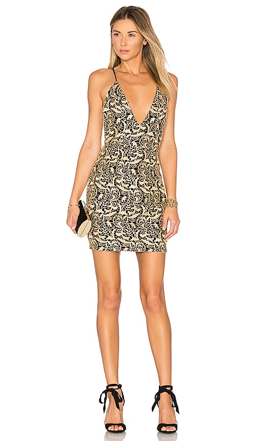 by the way. Amari Lace Mini Dress in Metallic Gold