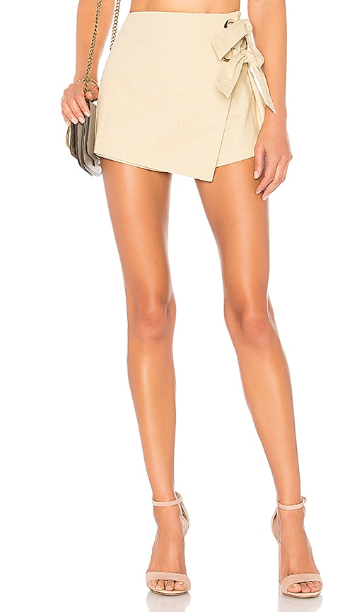 by the way. Alaya Grommet Wrap Skort in Beige