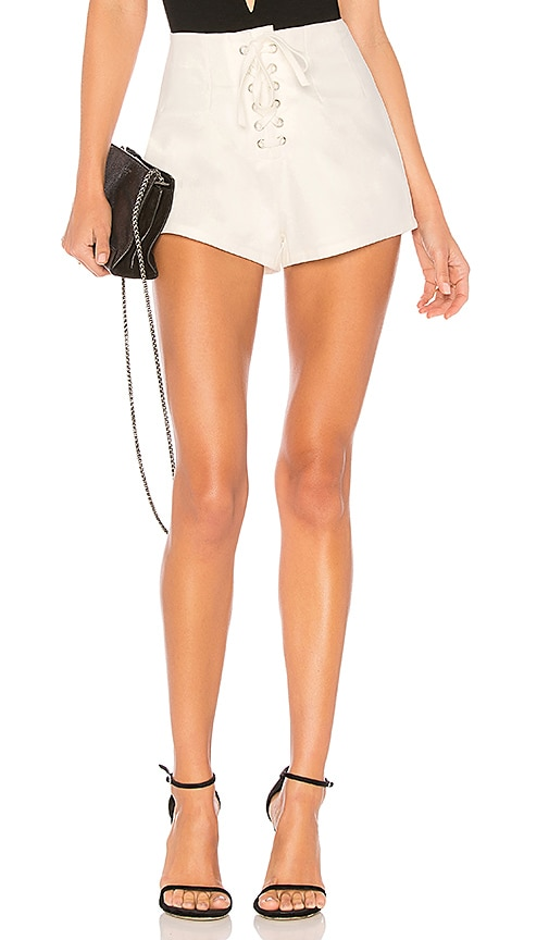 by the way. Chiara Lace Up Short in White