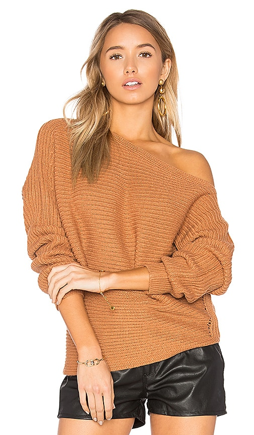 by the way. Kylie Off Shoulder Sweater in Tan