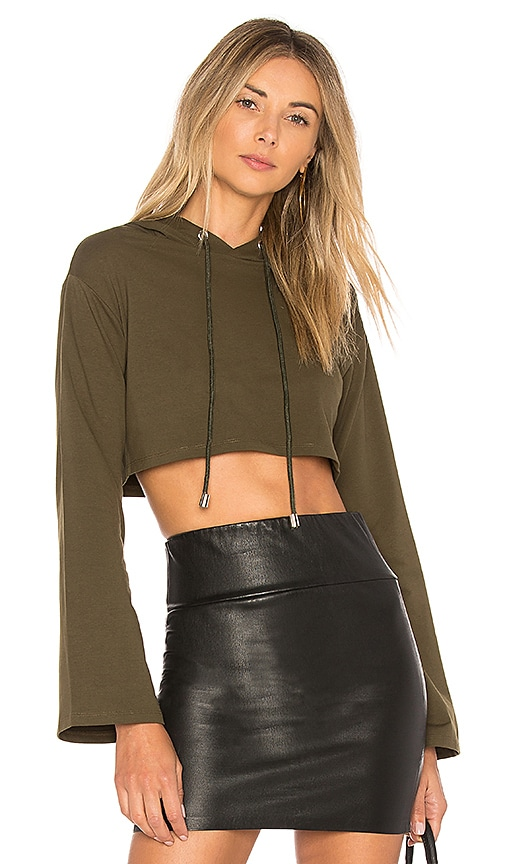 by the way. Loni Crop Hoodie in Green