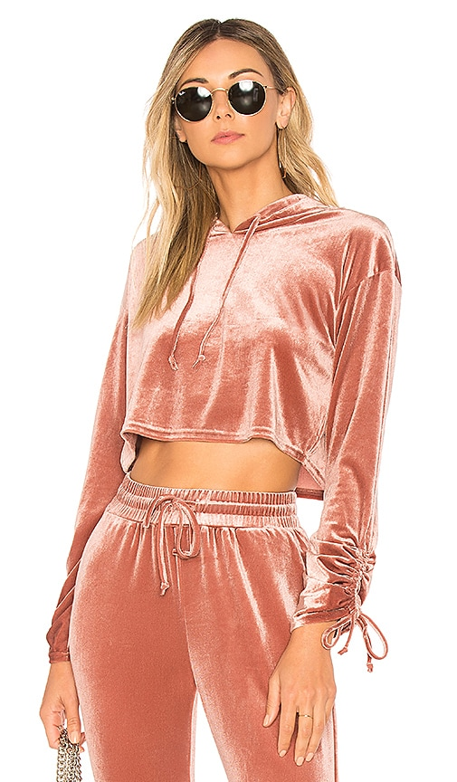by the way. Behati Cropped Velour Hoodie in Pink