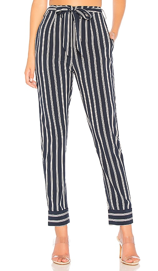 Nelly Pinstripe Belted Pants