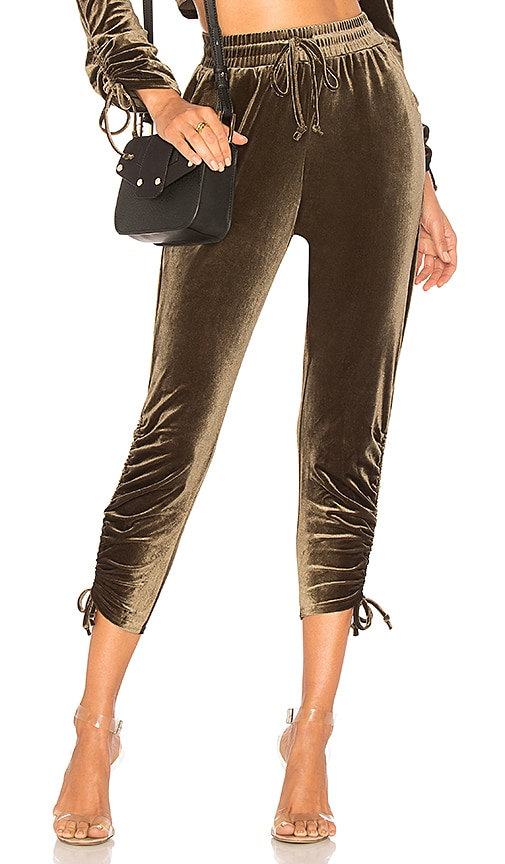 by the way. Behati Ruched Velour Jogger in Green