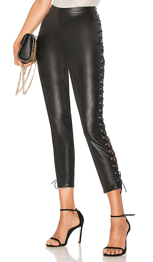 by the way. Cori Lace Up Faux Leather Pant in Black
