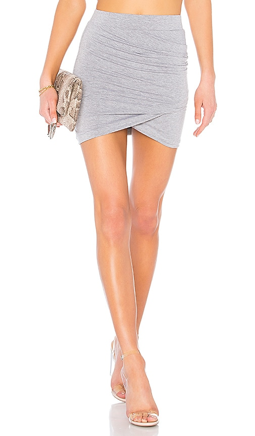 by the way. Arden Ruched Mini Skirt in Light Gray