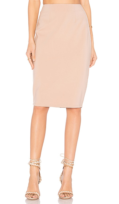 by the way. Gina Midi Skirt in Beige