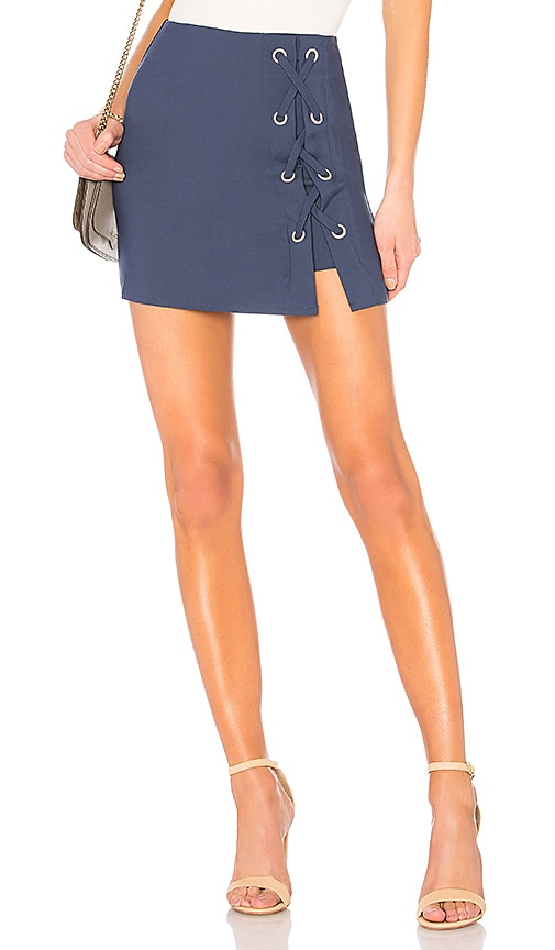 by the way. Tori Lace Up Skirt in Navy