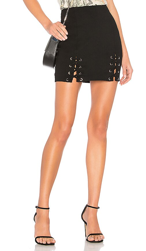 by the way. Reese Lace Up Mini Skirt in Black