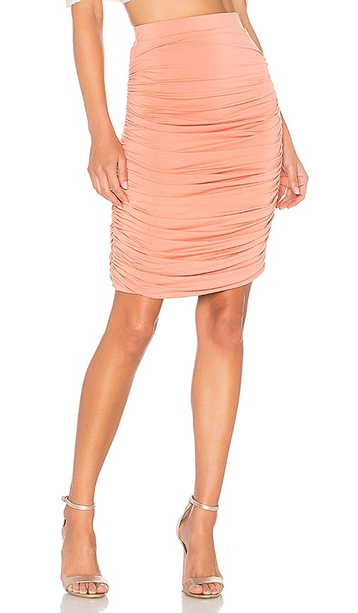 by the way. Tatiana Ruched Midi Skirt in Blush