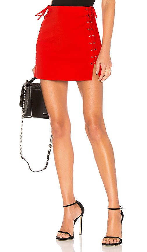 by the way. Lani Lace Up Skirt in Red