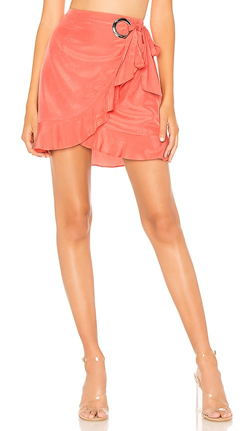 503b6287dcbc by the way. Annina Ruffle Tie Midi Skirt in Orange | REVOLVE