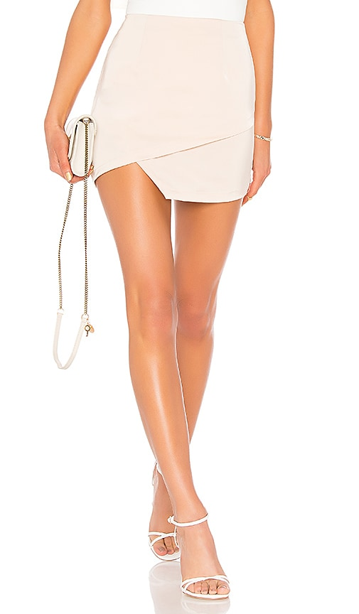 by the way. Saira Satin Mini Skirt in Beige