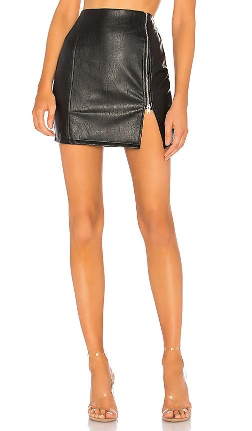Melissa Zip Up Faux Leather Mini Skirt