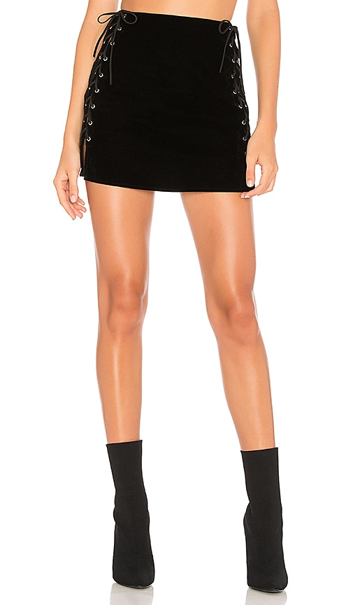 by the way. Luna Velvet Lace Up Mini Skirt in Black
