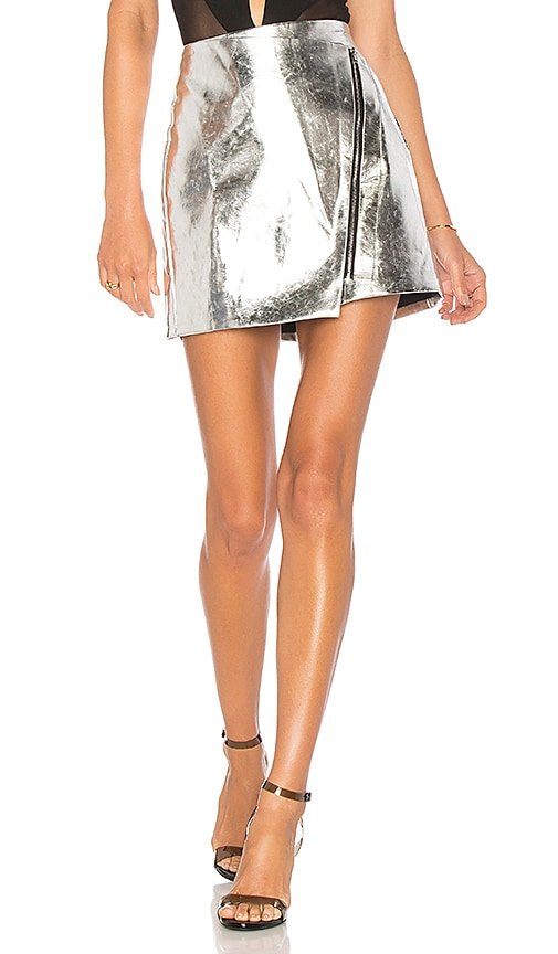 by the way. Nina Metallic Moto Skirt in Silver