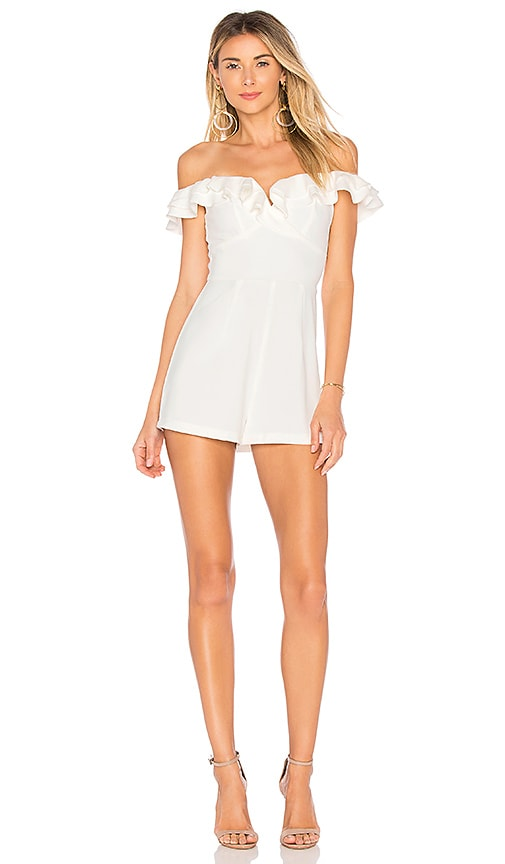 by the way. Jada Ruffle Romper in White