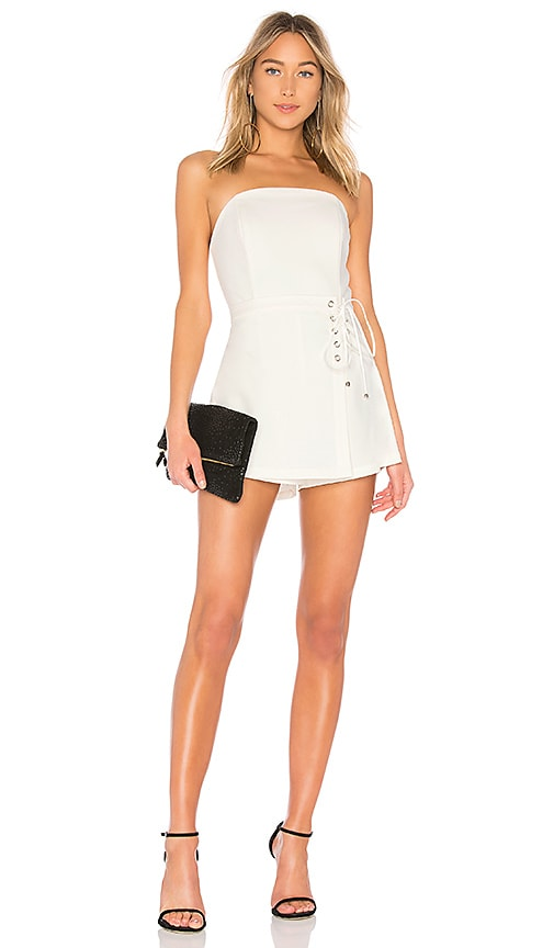 by the way. Joyce Side Lace Romper in White