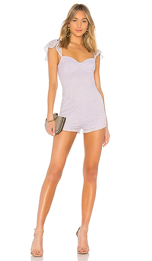 by the way. Perla Lace Romper in Lavender