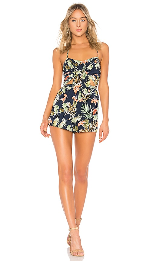 4e6eb79ca9 superdown Myra Front Tie Romper in Blue Tropical