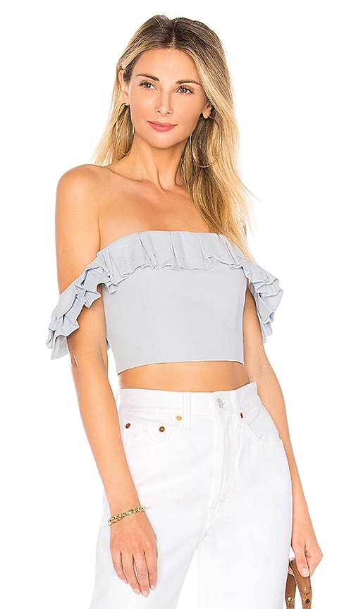 by the way. Lana Ruffle Crop Top in Baby Blue