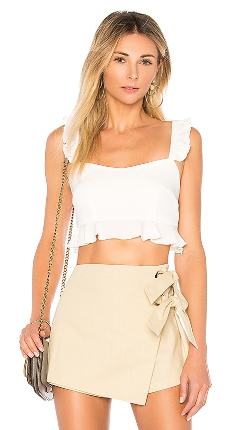 by the way. Monroe Ruffle Crop Top in White