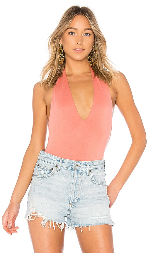 by the way. Marisol Deep V Bodysuit in Rose