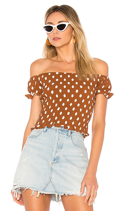 by the way. Maggie Smocked Top in Brown