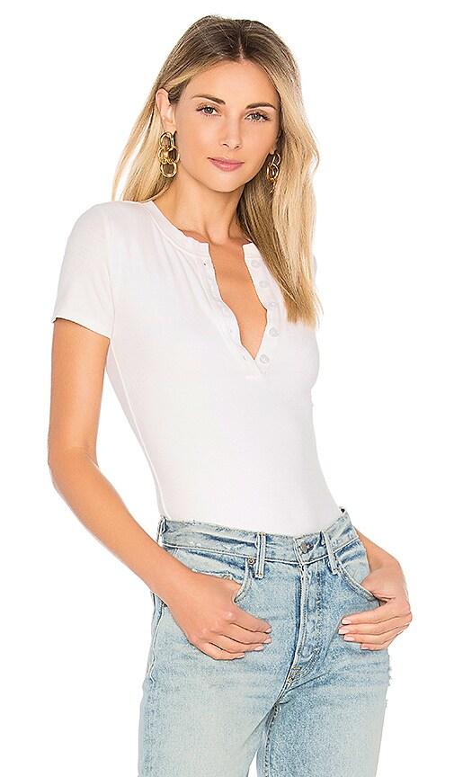 by the way. Melina Rib Henley Bodysuit in White