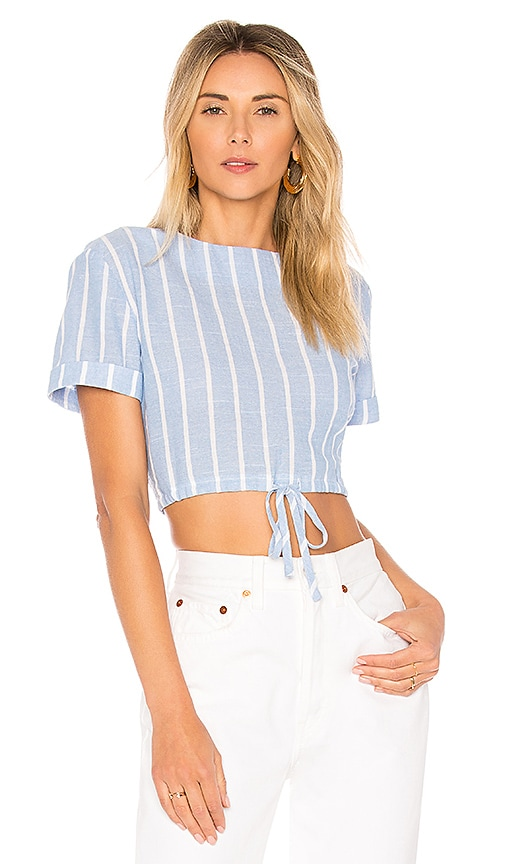 by the way. Kristian Drawstring Crop Top in Blue