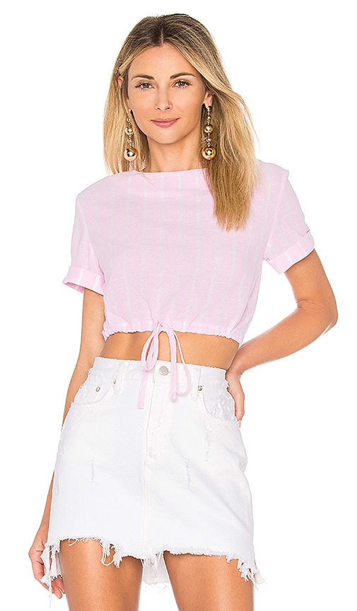 by the way. Kristian Drawstring Crop Top in Pink