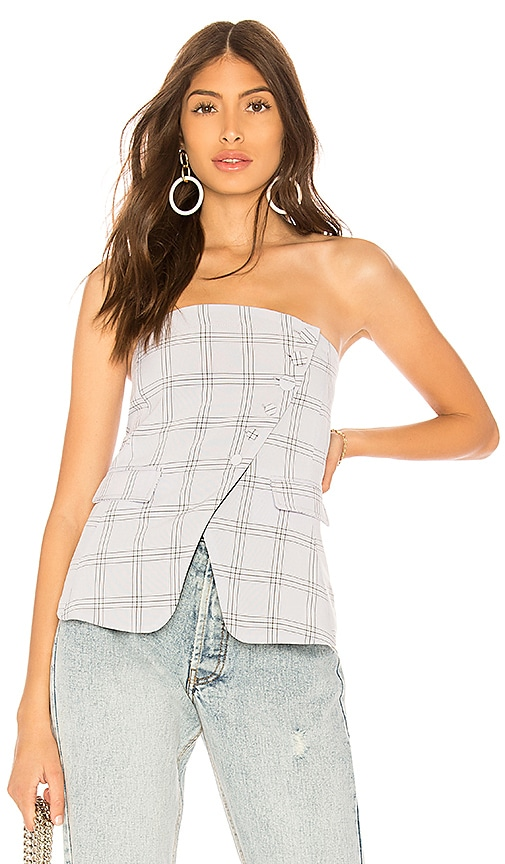 by the way. Jax Asymmetric Button Up Strapless Top in Baby Blue