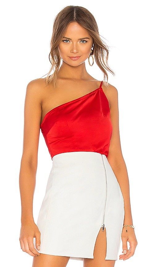 21f2018ee2 superdown Rubi One Shoulder Cami Top in Cherry Red