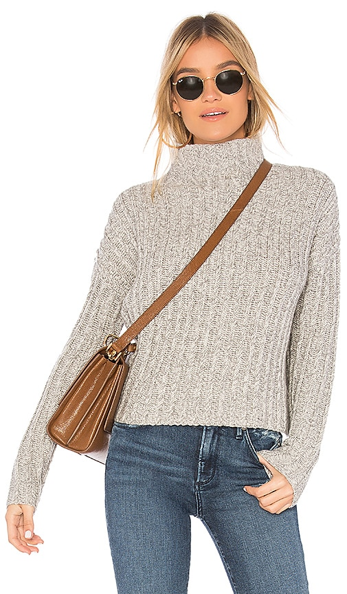 BROWN ALLAN Twisted Turtleneck Sweater in Gray