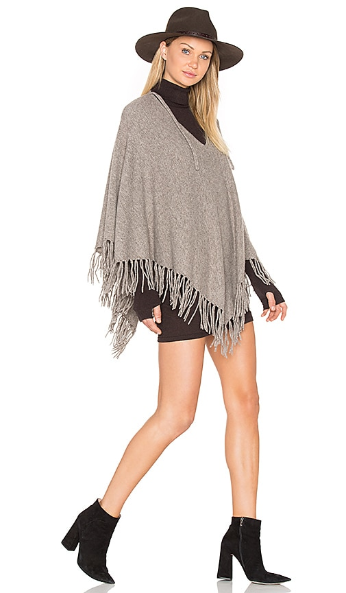 BROWN ALLAN Fringe Poncho in Taupe