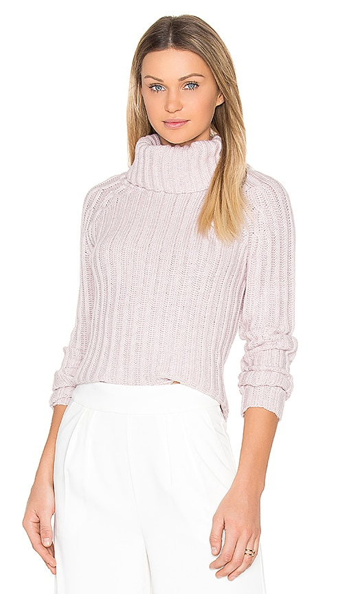 BROWN ALLAN Ribbed Turtleneck Sweater in Pink