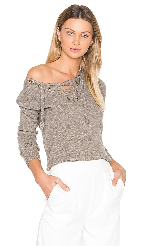 BROWN ALLAN Lace Up Sweater in Taupe